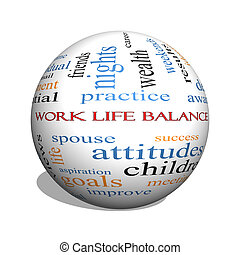 Work Life Balance 3D sphere Word Cloud Concept