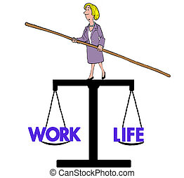 Work Life Balance - Business cartoon of woman balancing on a...