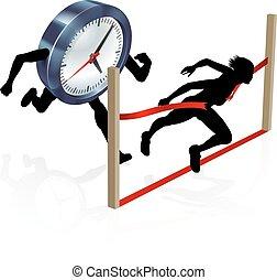 Work Life Balance Clock Race Concept