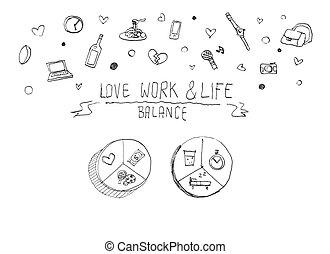 work life balance concept doodle illustration