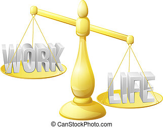 Work life balance concept, work and life on scales with not...