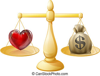 Work life balance illustration. With heart sign symbol on one side of the scales and a money sack on the other side