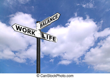 Concept lifestyle image of a signpost directing Work Life Balance against a blue cloudy sky.