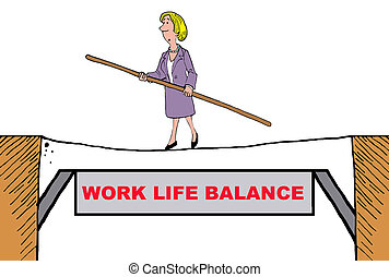 Work Life Balance - Business cartoon of businesswoman...