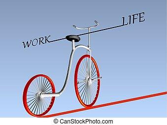 work life balance. vintage bike on ruop