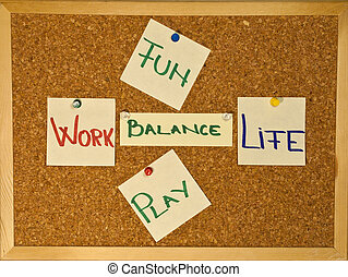 Post it notes on a wooden board representing the Work-Life Balance concept