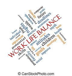 Work Life Balance Word Cloud Concept angled