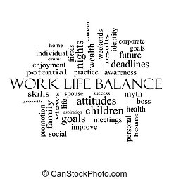 Work Life Balance Word Cloud Concept in black and white