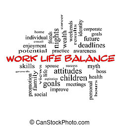 Work Life Balance Word Cloud Concept in red caps