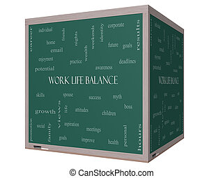 Work Life Balance Word Cloud Concept on a 3D cube Blackboard