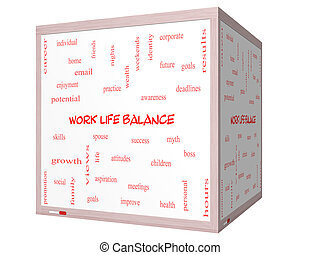 Work Life Balance Word Cloud Concept on a 3D cube Whiteboard