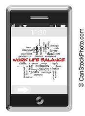 Work Life Balance Word Cloud Concept on a Touchscreen Phone