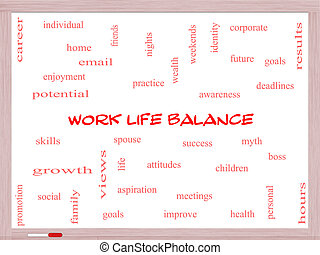 Work Life Balance Word Cloud Concept on a Whiteboard