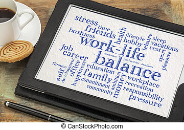 work life balance word cloud on tablet