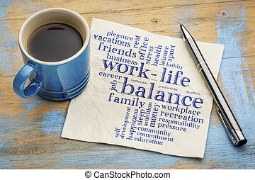 work life balance word cloud - handwriting on a napkin with...