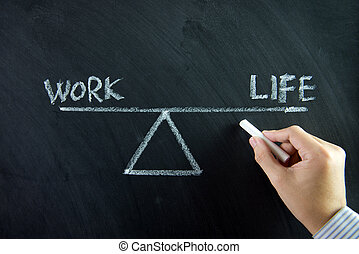 Work and life balance written on chalkboard