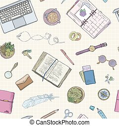 Work notes, background studying, creative lifestyle, planning. Seamless pattern. Hand drawn illustration pastel colors