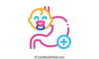 work of esophagus of newborn baby Icon Animation. color work of esophagus of newborn baby animated icon on white background
