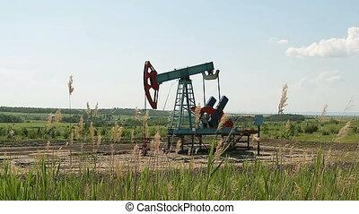 Work of oil pump jack on oil field - Work of oil pump jack...