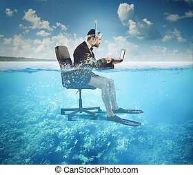 Work on holiday - Businessman working on vacation even at...