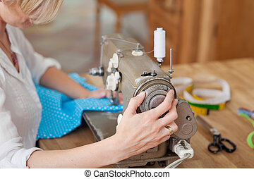 Work on sewing machine