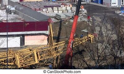 Work on the construction site. installation crane