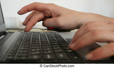 Work on the laptop computer - Female hands typing on the...