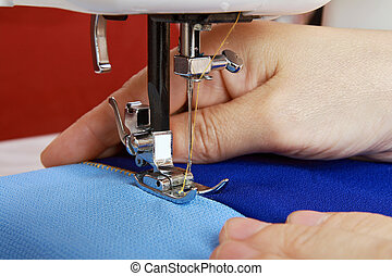 Stapling tissue using the sewing machine