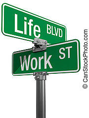 Work or Life decision street signs - Signs choose Work or...