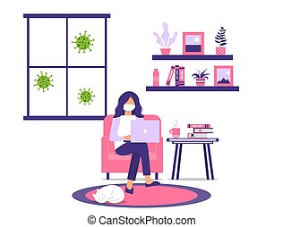 Work or study at home during an outbreak of the COVID-19 virus.