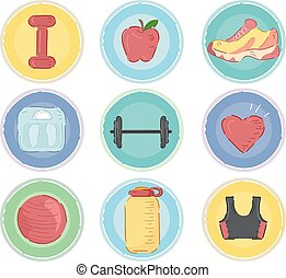 Work Out Icons - Illustration Featuring Workout Related...