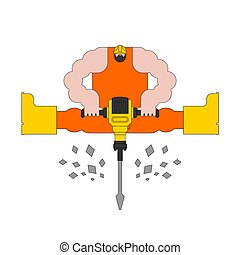 work., ouvrier, illustration, roadman, vecteur, jackhammer., route