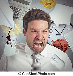 Work overload - Businessman stressed and pissed from work...