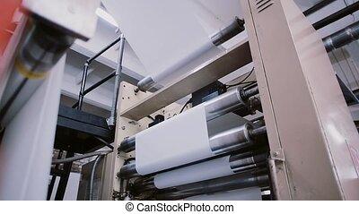 work., papier, ligne, processus, machine, établissement, sound., impression, production, détail