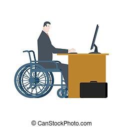 work., persone, carrozzella, diritti, uguale, invalido, direttore, tavola., gli utenti disabili