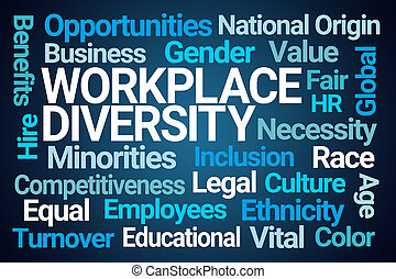 Work Place Diversity Word Cloud on Blue Background