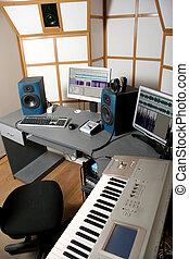 audio studio - work place of audio engineer of professional ...