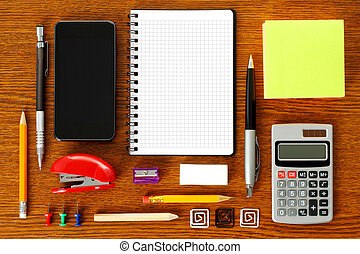 Work place with office stationery close-up