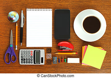 Work place with office stationery