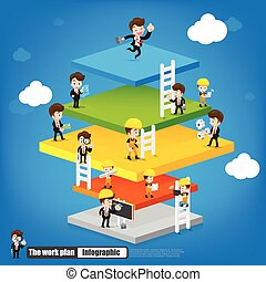 Work plan infographic with engineer businessman labor and mechanic vector illustration eps10