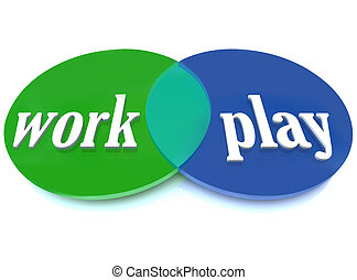 Work Play Venn Diagram Intersecting Circles Fun Enjoyment