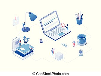 Work process - modern vector isometric colorful illustration