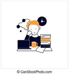 Work procrastinating flat icon.Unnecessarily postpone dealing work-related tasks. Tired person.Overload concept. Vector illustration