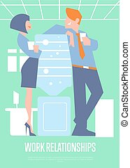Work relationships banner with business people