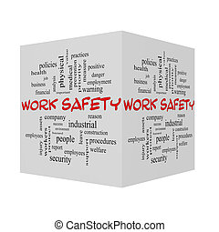 Work Safety 3D Word Cloud Concept in red caps