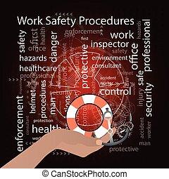 Work Safety Procedures concept. Vector