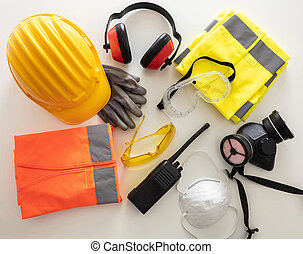 Work safety protection equipment background. Industrial ...