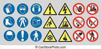 Work safety signs - Vector pack of different work safety...