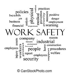 Work Safety Word Cloud Concept in black and white