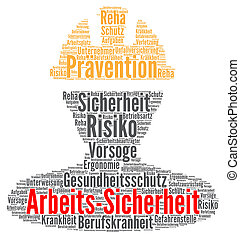Work safety word cloud concept in German